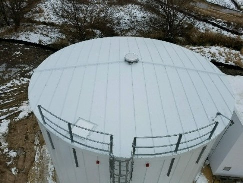 Fire protection storage tank top view