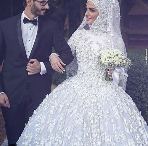 Robe de mariee blanche hijab