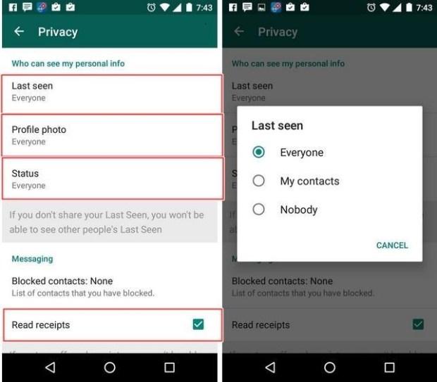 Configurer option de la vie privée dans WhatsApp