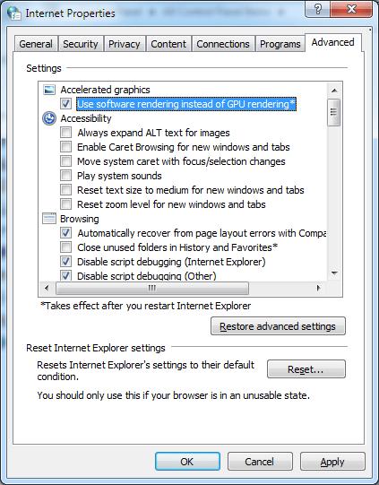 Désactiver l'accélération matérielle dans Internet Explorer