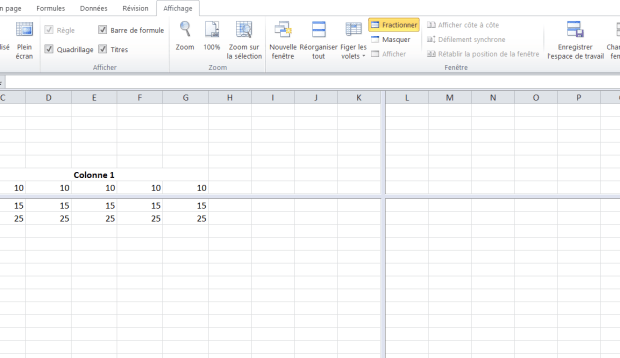 Excel écran fractionné