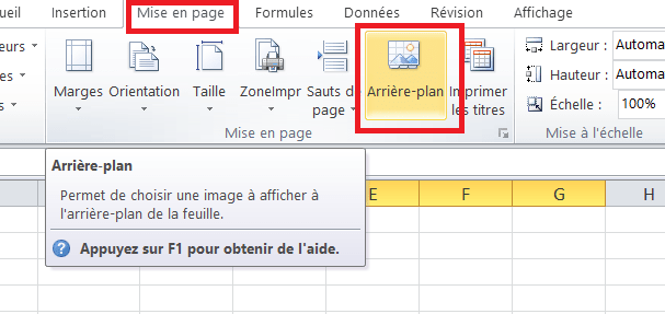 Feuil Excel arriere plan