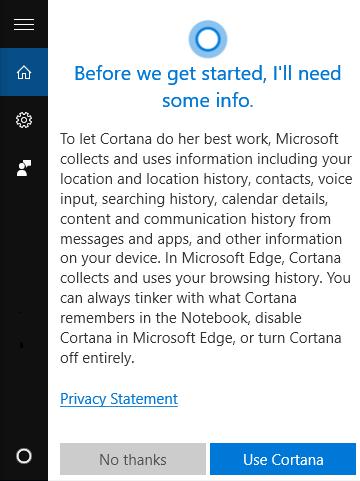 Vie privée et Cortana