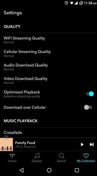 Tidal ajuster qualité streaming et musique téléchargés