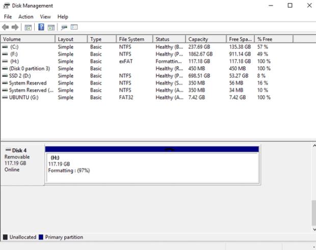 Formatter un disque dur Windows 10