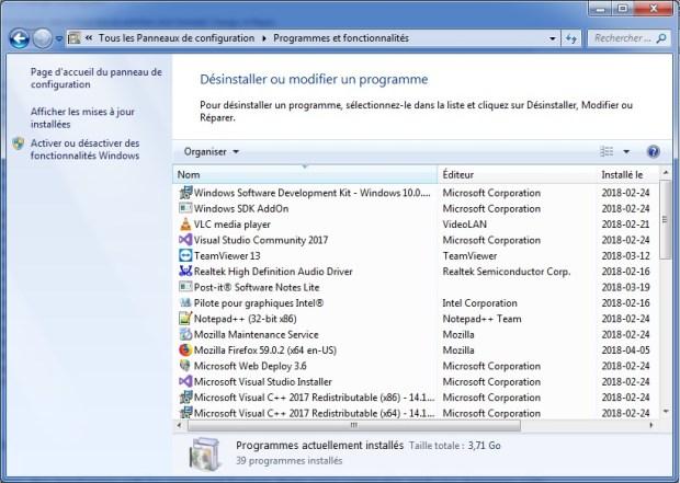 Panneau de configuration - programmes installes