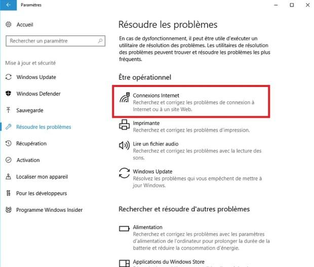 Dépannage connexion Windows 10