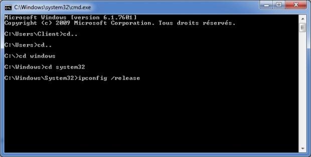 ipconfig vérifier connexion internet
