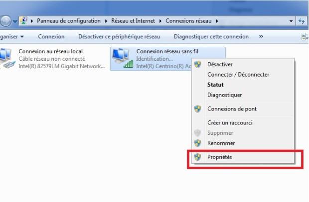 Windows 10 - propriété connexion internet
