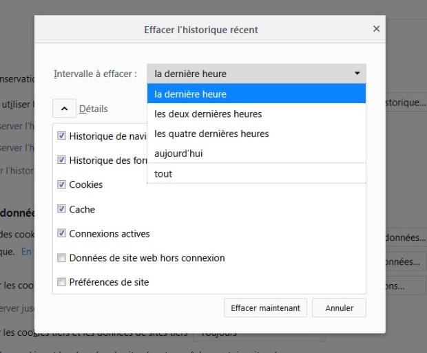Effacer historique Firefox