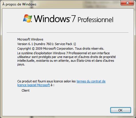 Afficher fenêtre a propos Windows