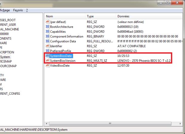 Information BIOS - registre de Windows