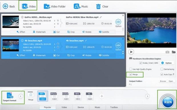 VideoProc - fusionner plusieurs vidéos