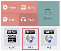 sélectionnez mp3 comme format de sortie dans une usine de conversion vidéo hd