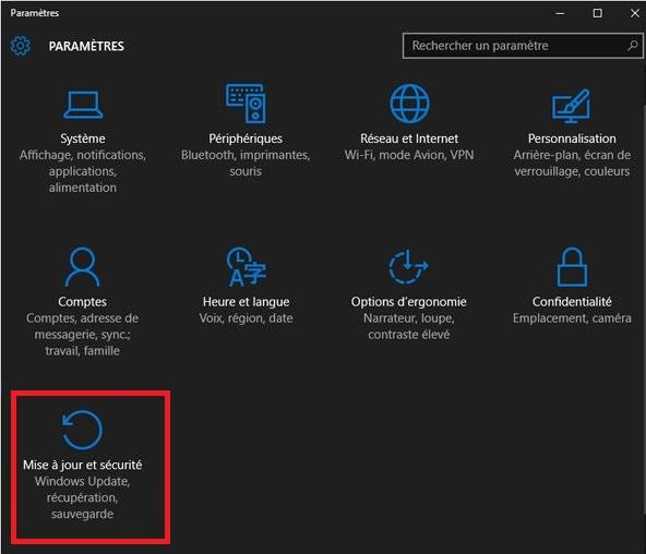 windows 10 - mise à jour et sécurité