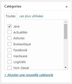 WordPress - attacher un article à une catégorie