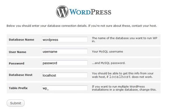 db connexion wordPress