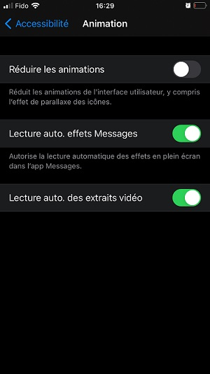 iPhone - réduire l'animation