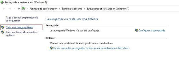 Windows 10 - créer une image système