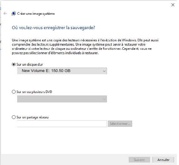 Windows 10 - image système sur un disque dur