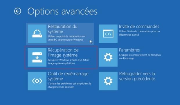 Windows 10 - récupérer image système