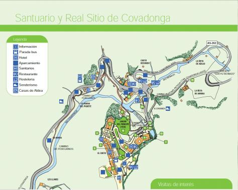 Plano de Covadonga. Donde aparcar. Acceso