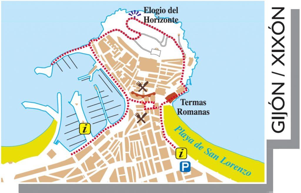 Ruta de medio día en Gijjón. Plano de Gijón