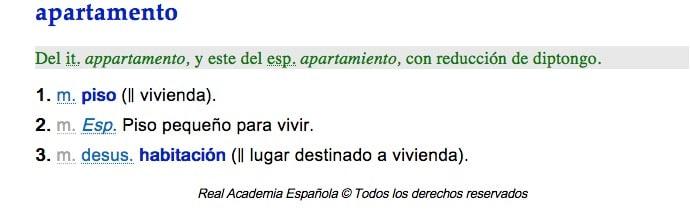 definicion de apartamento por la RAE