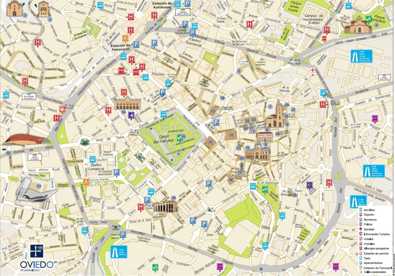 plano turístico de Oviedo. version ayuntamiento