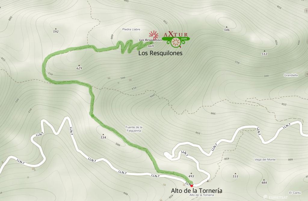 Ruta en el mapa a los Resquilones. Alto de la Tornería. El Mazucu