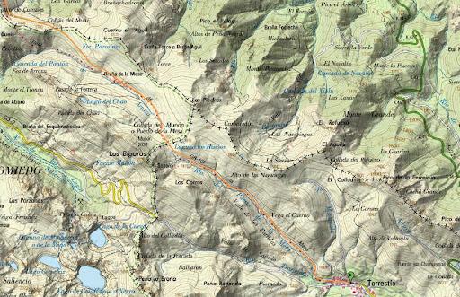 mapa del camino real del peurto de la mesa