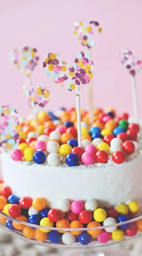 Confetti Hearts And Bubble Gum Cake A Subtle Revelry