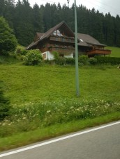 View of a typical Black Forest house taken from the bus