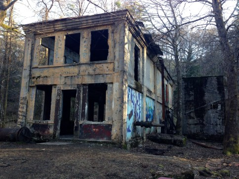 Creepy abandoned old mining town building