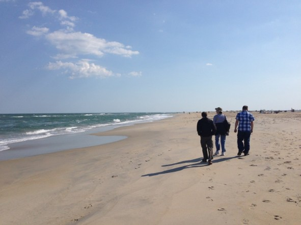Micah, my brother, and Aunt Jennifer walking the Assateague Beach