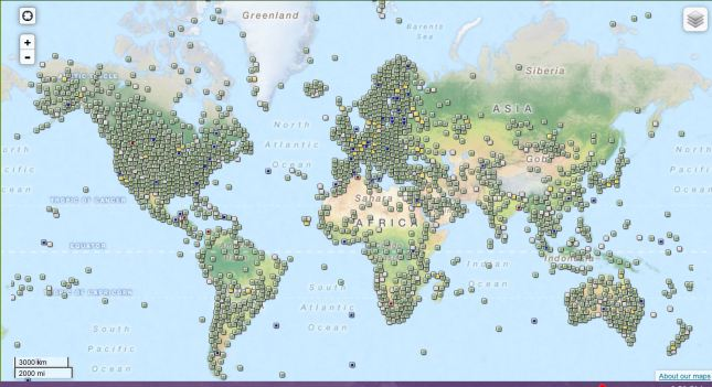 Geocaching.com map showing Geocaches covering each continent