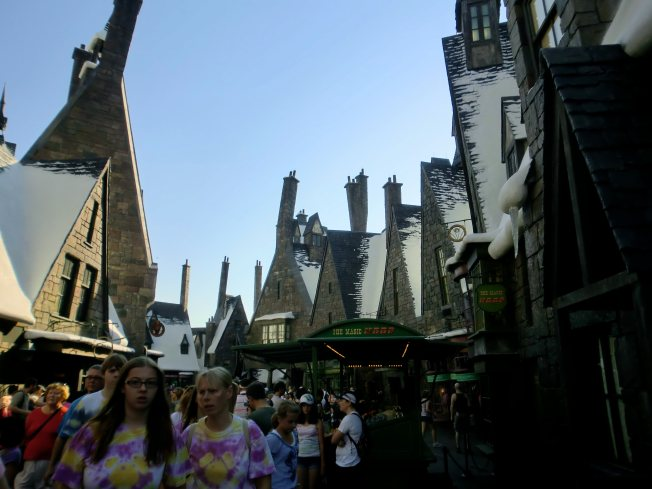 Here at Hogwarts graphic travelogue comparison photo of Hogsmeade