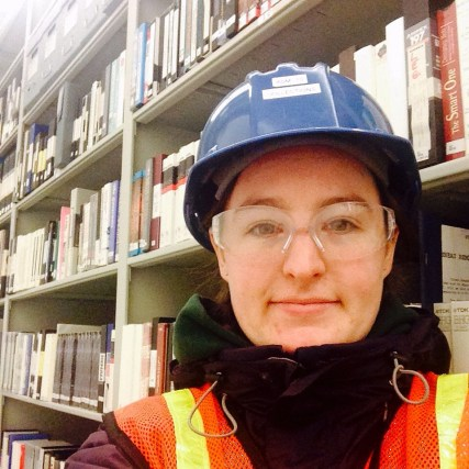 Hard hat in library