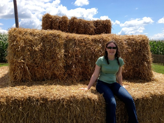 Took a moment to rest on the hay bales after the maze