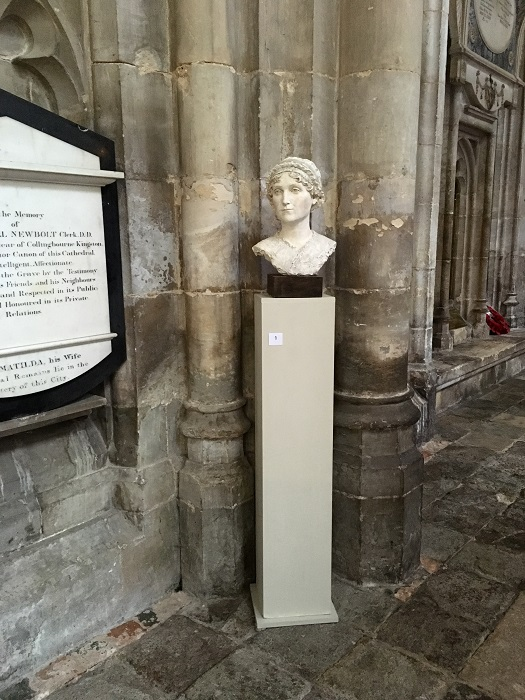 Bust of Jane Austen in Winchester Cathedral.