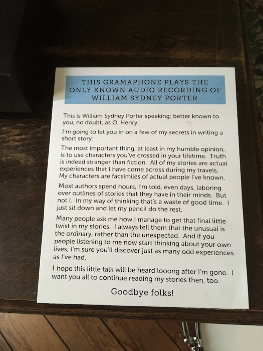 O. Henry House Museum recording transcript
