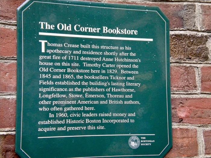 Old Corner Bookstore Plaque