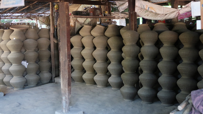 Stack of unfired clay pots