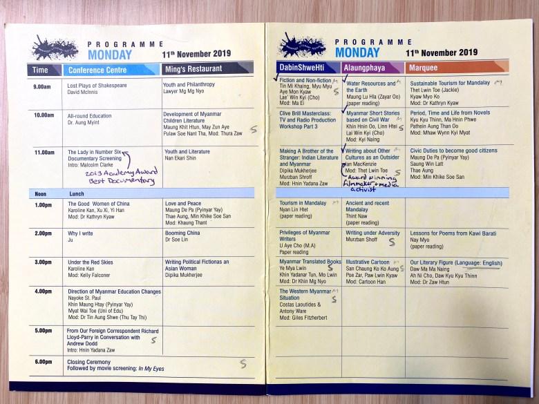 Literary Festival Schedule