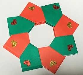 折り紙 クリスマスリース 手作り