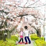 桜の下ふたり