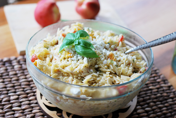 Grilled Peach & Goat Cheese Orzo Salad
