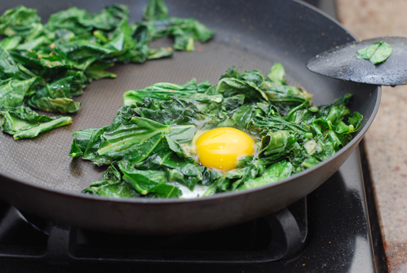 Collard Greens with Egg Nest