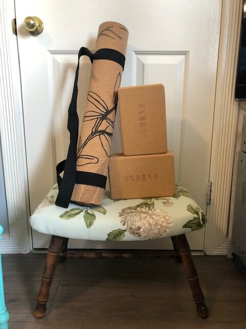 Scoria Cork Yoga Mat and blocks