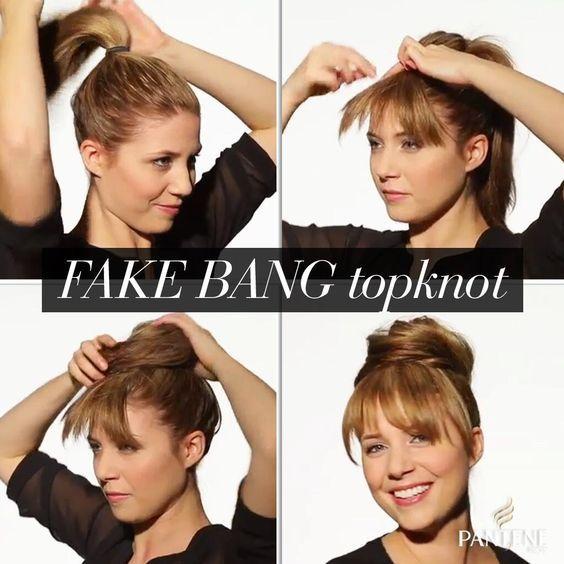 fake bang top knot